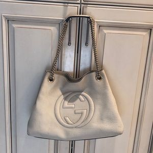 Gucci Soho Chain Off White Leather Bag
